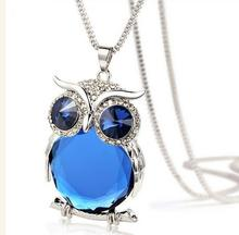 Fashion Jewelry Rhinestone Long Chain Necklace Alloy Owl Pendant