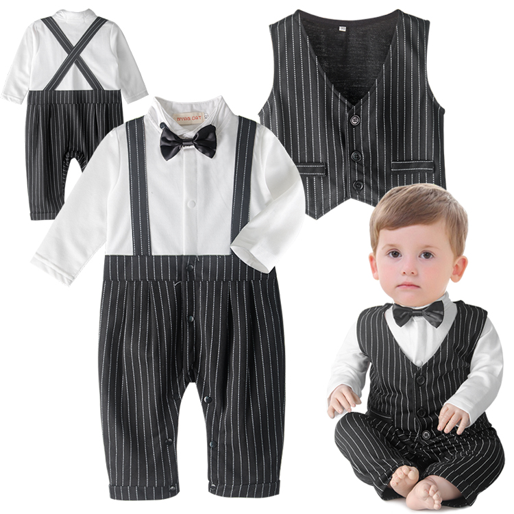 2015 baby boys gentleman vest tie Rompers climbing clothes jumpsuit kids modelling infant long sleeve climb clothes