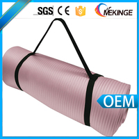 Thickness colored nbr yoga mat with carry strap rubber yoga mat