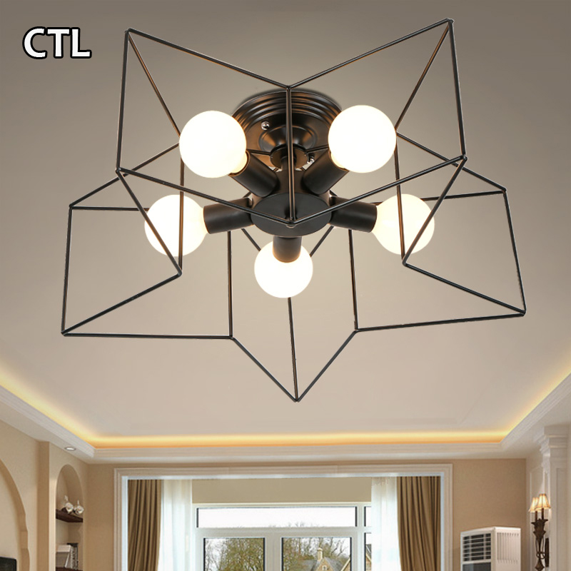 5 lights cage lamp living room restaurant decorative ceiling light modern
