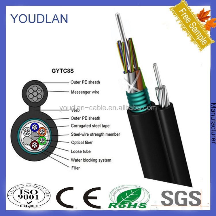 Black outdoor optic fiber cable GYTC8S manufacturer