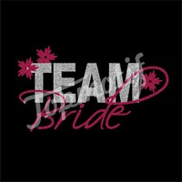Iron-On Team Bride Heat Transfer Hot Fix Glitter Motif Design for Wedding Dress