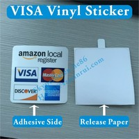 Custom Double Side Printed MasterCard Vinyl Stickers for Windows,Can't See Through White VISA Self Adhesive Label for Glass Door