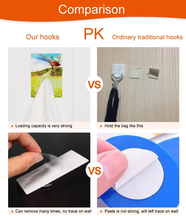 fashion self-adhesive plastic magic wall hook