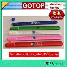 Silicone branded usb Wristband usb flash drive bracelet usb mini flash stick cheap promotional gifts