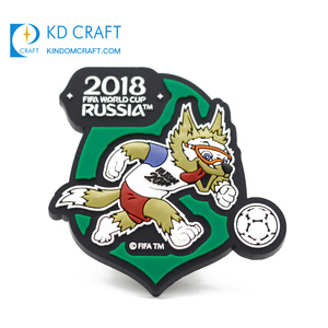 Wholesale personalized custom pvc rubber badge embossed 3d russia football world cup lapel pin for sale