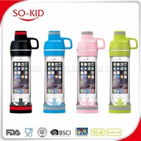 best sell smart phone water bottle with storage compartments