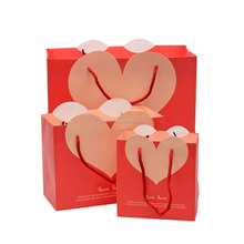 Custom wedding hear-shaped high-end gift bag packaging paper handbag