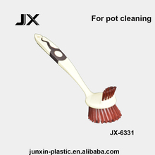 cleaning tools plastic pot brush scrubber with handle for kitchen cleaning