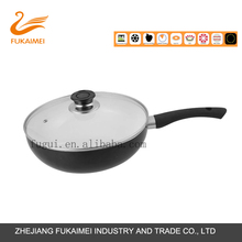 Ceramic Coating Aluminum Cooking Sauce Wok with Single Handle