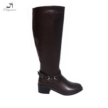 2017 Wholesale Winter Warm Ladies Motorcycle Genuine Leather Mid Heel Long Horse Riding Boots China