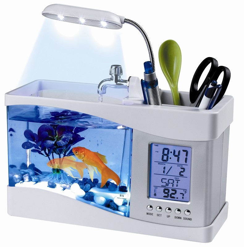 2018 Popular USB Desktop Mini Fish Tank Aquarium Glass LCD Timer Clock LED Lamp Light Black/White led aquarium fish tank
