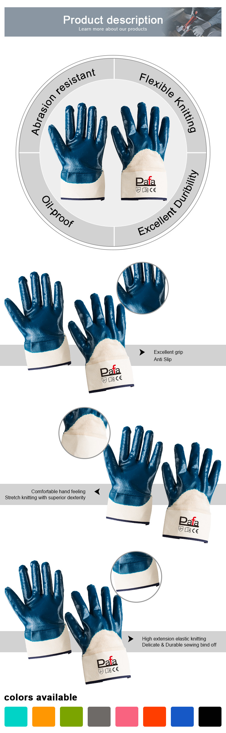 Wholesale skillful manufacture blue nitrile womens garden gloves