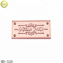 Rose gold handbag metal name tag <strong>wallet</strong> embossed logo metal plate