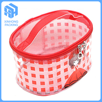 Customized high quality pvc zipper bag/pvc waterproof travel cosmetic bag/pvc handle bag for traveling