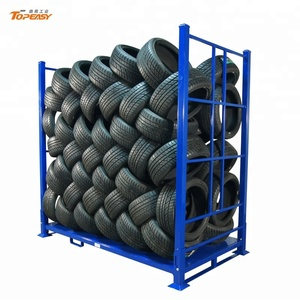 Custom heavy duty stacking metal tire rack for warehouse