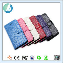 Rugged skin flip crocodile skin wallet pu leather case for iphone 5
