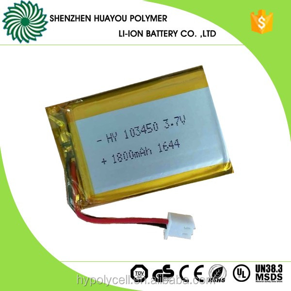 103450 3.7v 1800mah polymer rechargeable lithium ion <strong>battery</strong>