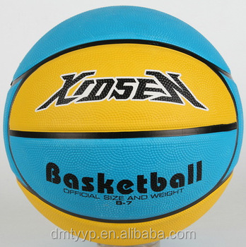 Xidsen,Qianxi Rubber 10 panels Basketball size 7,bright yellow,bright blue color