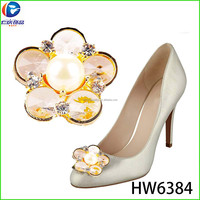 HW6384 renqing shoe collection round glass flat beads golden goose shoes buckles