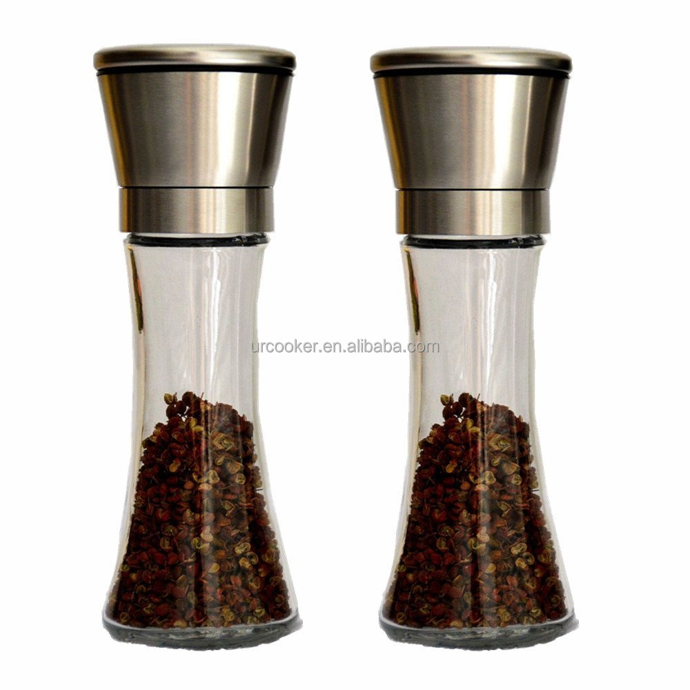 Premium Stainless Steel Salt and Pepper Grinder Set of 2-Brushed Stainless Steel Pepper Mill and Salt Mill