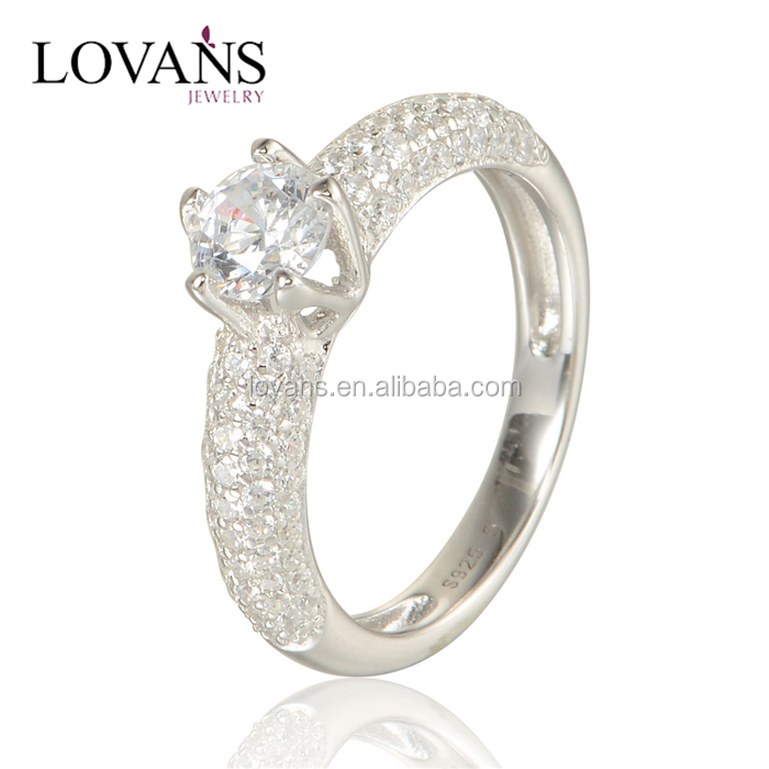 Fashion Custom Sample Offer Zircon Stones Engagement 925 Silver Ring