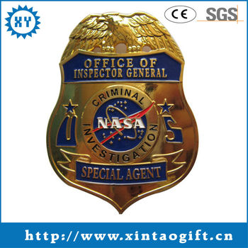 security guard badge plating gold