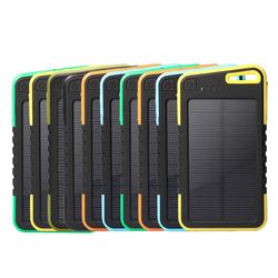 Portable Solar Phone Charger 5000mah Dual USB External Solar Power Bank Charger