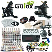 Complete Tattoo Starter Learning Kit 2 Machine Tattoo Ink Power Supply Grip Tips DVD Tattoo Set GUKA01