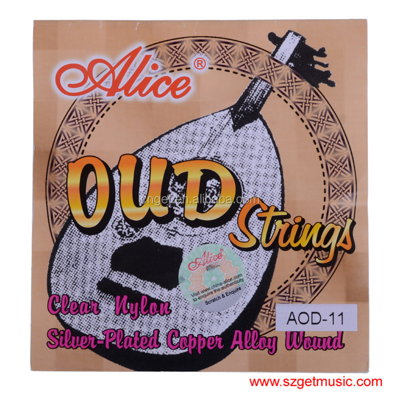 Alice AOD-11 OUD Strings Set Silver Copper Wound White Clear Nylon 11 Strings