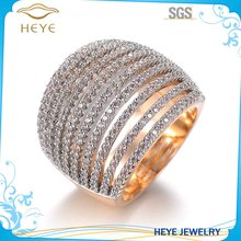 Unique Zircon jewelry Long full cz stone pave setting men ring full finger knuckle ring for woman