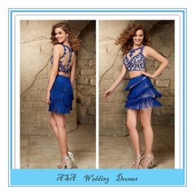 See through two piece Royal blue Mini Short Sequined Cocktail Dresses Party Dress (EVFA-1099)