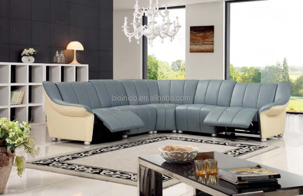 Bisini Modern Light Blue L Shape Genuine Leather Sofa, L Shape Sofa with Recliner