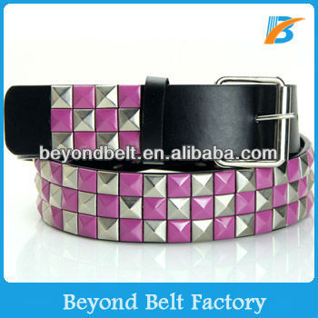 Men Women's Purple Silver Checkerboard Pyramid Studded Leather Belt