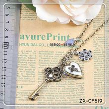 Large Key Pendant Necklace With Charm Chain Jewelry