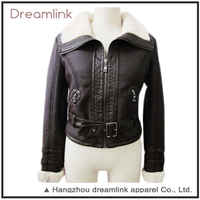 Fashionable Foul Weather Motorcycle Wear Black Thick Lamb Wool Jacket