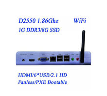 Fanless X86 mini computer PXE thin clients with WiFi Builtin COM D89 HDMI ports XP WIN 7 can be prolad 1080P HD Video
