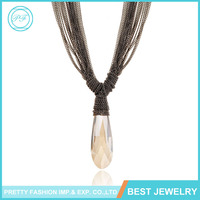 European And American Fashion Jewelry Multi Tassel Large Teardrop Shaped Zircon Pendant Necklace