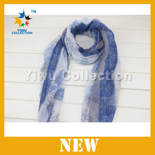 Fashion leaves printed lucency viscose scarf