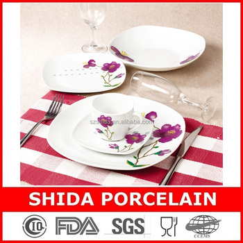 20PCS SQUARE SHAPE PORCELAIN DINNERWARE SET WESTERN STYLE FLORAL DESIGN DINNERWARE SET SDS303
