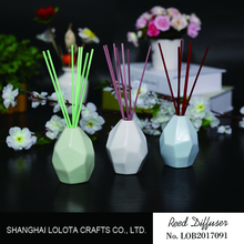 Aroma fragrance reed diffuser in ceramic bottles with colorful sticks