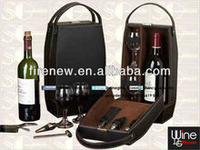 Leather wine tote carrier with 2 glasses