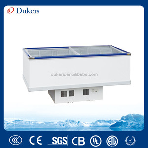 530L sliding glass door Island freezer,meat freezer,kitchen refrigerator for restaurant