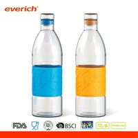 Beer bottle shaped sports bottle with color silicone band