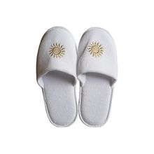 Hotel amenities print logo hotel Bathroom recyclable White <strong>slipper</strong> nonwoven cotton towel terry <strong>slippers</strong>