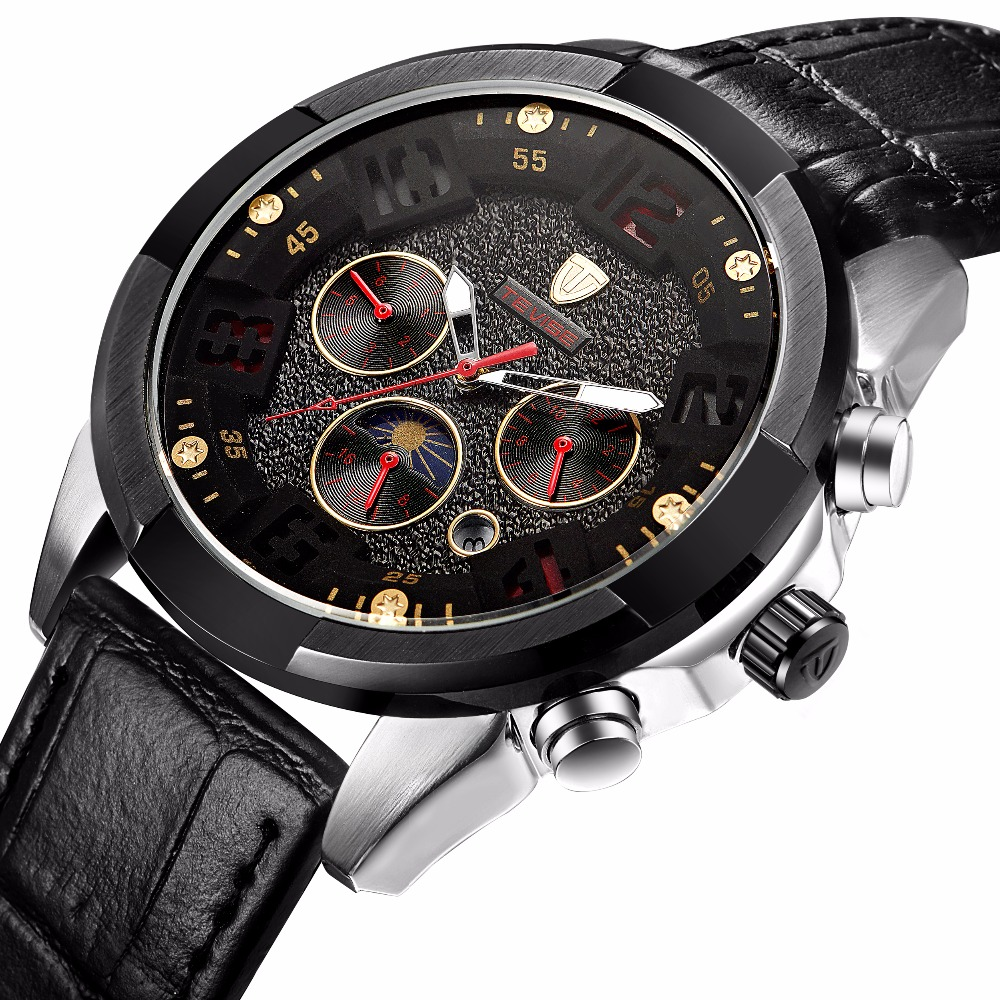 Wholesale Price Tevise Men's Watch Sports With Week,24 H Display Functions Skeleton Watches