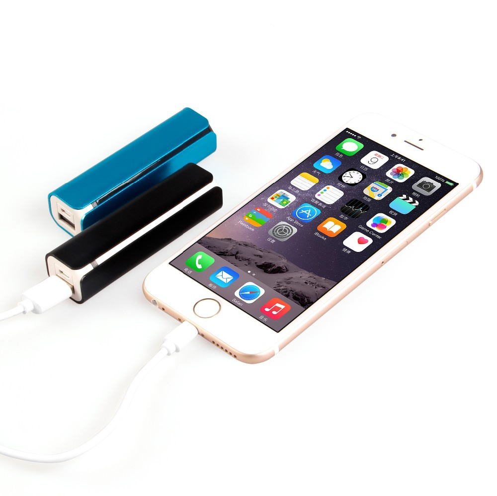 Portable mobile charger aluminium powerbank 2200mah led flashlight