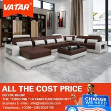 VATAR new design leather sofa with chaise for sitting room