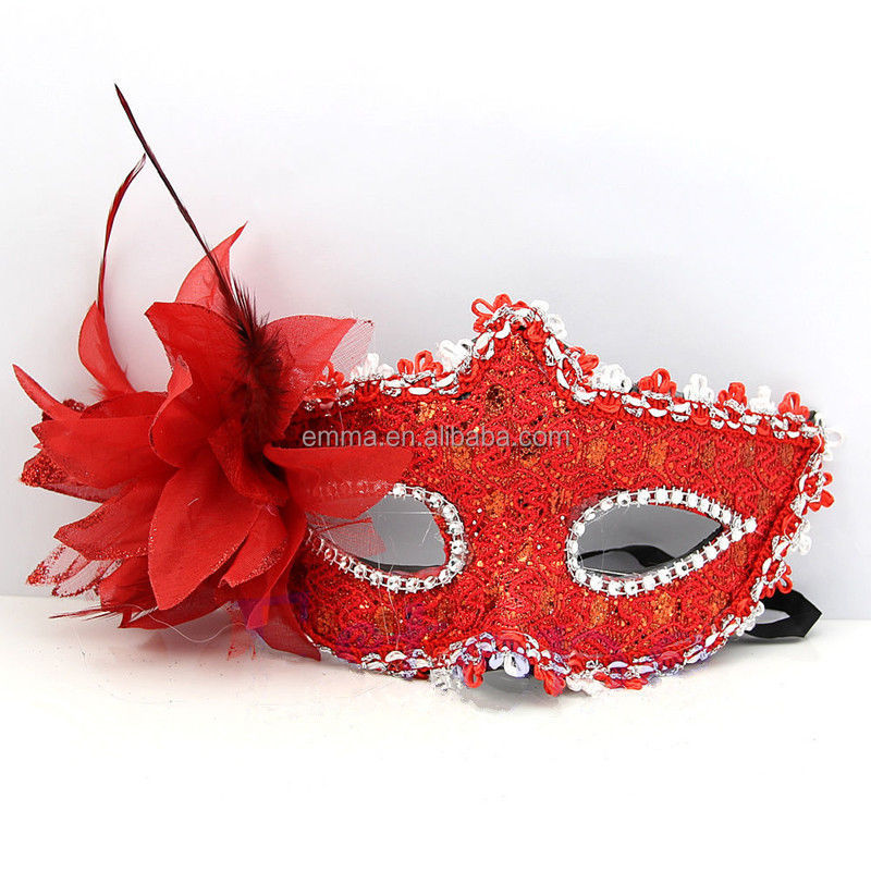 Leather red venice style eye mask masquerade party dance mask MK17058