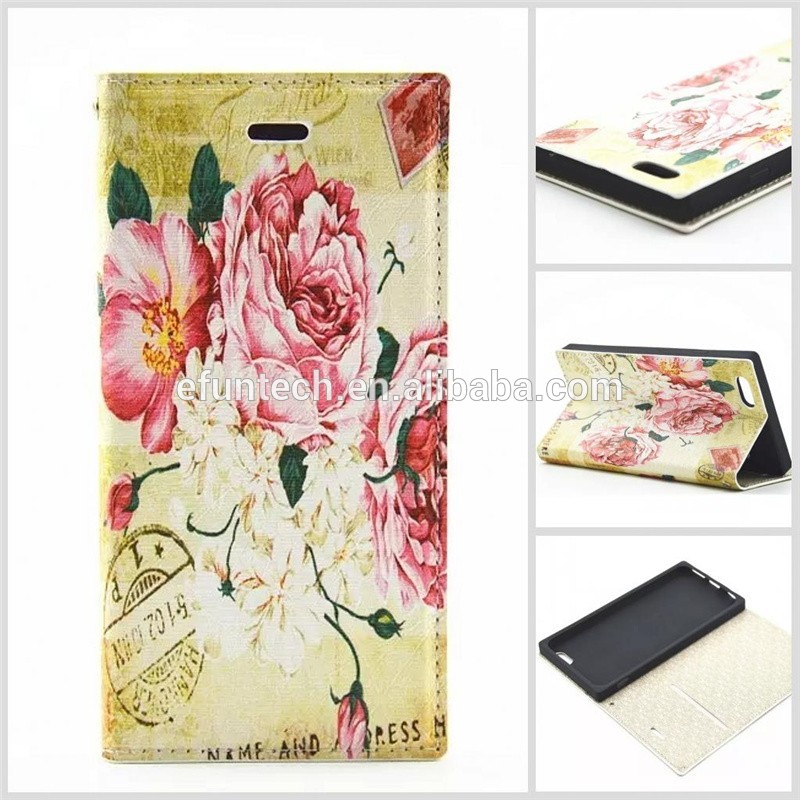 Mobile phone accessory classic image PU leather wallet flip cell phone case For iphone SE 5S 5